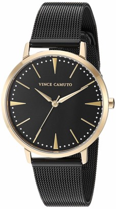 Vince Camuto Women's VC/5345GPBK Gold-Tone and Black Mesh Bracelet Watch