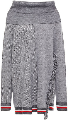 Stella McCartney Fringe-trimmed Herringbone Wool And Siilk-blend Sweater