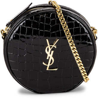 Saint Laurent Round Camera Bag Vinyle in Noir & Noir | FWRD