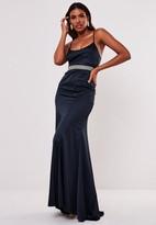 Missguided Navy Satin Diamante Waist Maxi Dress