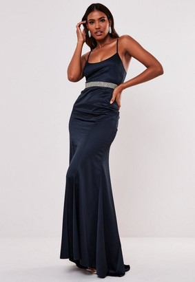Missguided Navy Satin Diamante Waist Maxi Dress