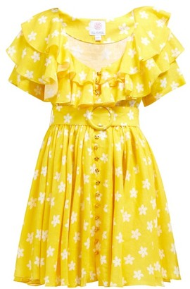 Gül Hürgel Ruffle Floral-print Linen Mini Dress - Yellow Print
