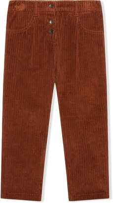 Dolce & Gabbana Kids Leaf-Embroidered Corduroy Trousers