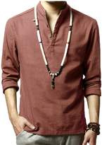 WSLCN Men's Linen Casual Henley Shirts Long Sleeve Solid Color