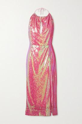 HARMUR Sequined Satin Halterneck Midi Dress - Pink