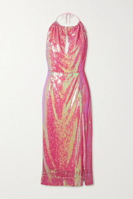 HARMUR Sequined Satin Halterneck Midi Dress