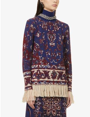 Paco Rabanne Floral-print fringe-hem alpaca, cotton and wool-blend jumper