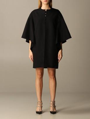 Valentino Cape Coat In Compact Drap Wool