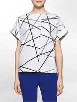 Calvin Klein Womens Platinum Sculptural Linear Print Top