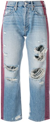 Mother Contrast Stripe Distressed Jeans