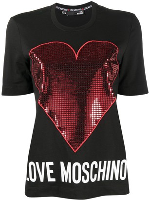 Love Moschino metallic-mesh heart T-shirt