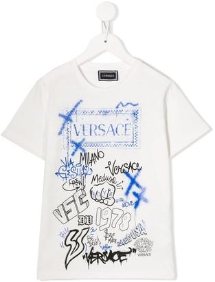 Versace graffiti logo print T-shirt