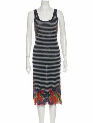 Jean Paul Gaultier Soleil Striped Midi Length Dress Blue