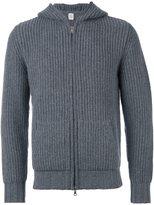 Eleventy zipped ribbed hoodie