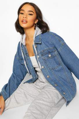boohoo Jersey Hood Longline jean jacket