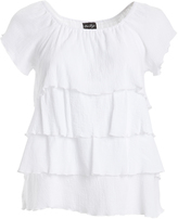 White Tiered Flutter-Sleeve Top - Plus