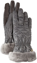 UGG Quilted Gloves w/ Shearling Fur Cuffs