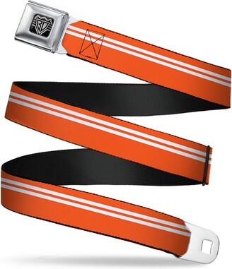 "Buckle Down Buckle-Down Seatbelt Belt - Racing Stripe Orange/White - 1.5"" Wide - 24-38 Inches in Length"
