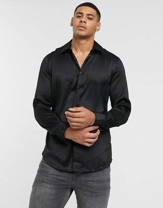 New Look satin shirt in black