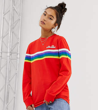 Ellesse long sleeve t-shirt with chest logo and rainbow stripe exclusive to ASOS-Red