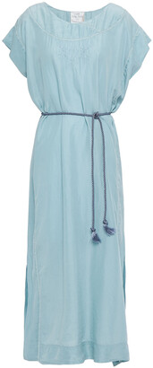 Forte Forte Belted Embroidered Silk-habotai Midi Dress
