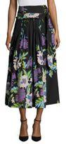Diane von Furstenberg D-Ring Floral Silk Midi Skirt