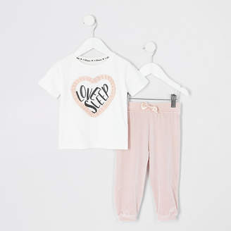 River Island Mini girls pink 'Love sleep' pyjamas