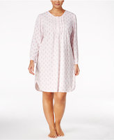 Miss Elaine Plus Size Printed Honeycomb Knit Nightgown