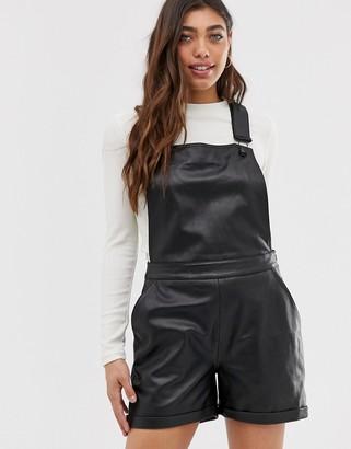 Muu Baa Muubaa Dorian short leather overalls-Black