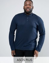 Asos PLUS Long Sleeve Jersey Polo In Navy