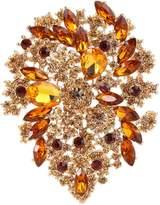 Ever Faith Gold-Tone Brooch Leaf Cluster Purple Austrian Crystal A02252-63