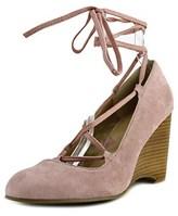 Adrienne Vittadini Smily Women Open Toe Suede Pink Wedge Heel.