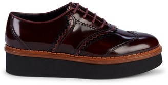 Tod's Patent Leather Platform Wedge Oxford Loafers