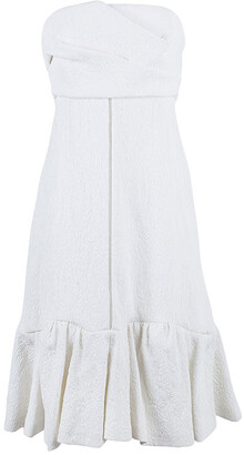 Chloé Off-White Quilted Floral Jacquard Dress M