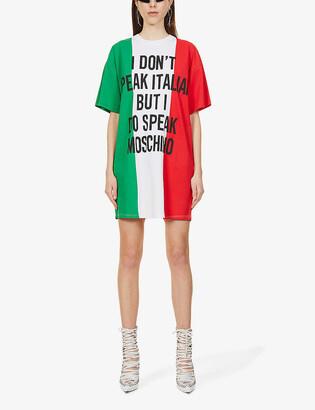 Moschino Italian slogan cotton mini T-shirt dress
