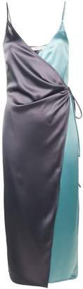 Ssheena two-tone satin wrap dress