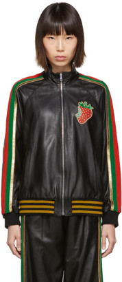 Gucci Black Leather Strawberry Patch Track Jacket