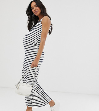 Mama Licious Mamalicious Maternity organic cotton maxi dress in blue and white stripe