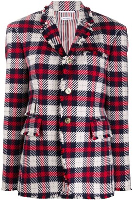 Thom Browne Narrow Shoulder SB Sack Jacket w/ Combo In Tartan Check Wool Twill