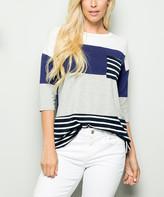 Celeste Women's Tunics IVORY/NAVY - Ivory & Navy Color Block & Stripe Pocket-Accent Tunic - Women & Plus