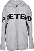 N°21 Pretend Hooded Jacket From Gray Pretend Hooded Jacket With Front Zip Fastening, Front Print Design, Long Sleeves And A Side Zip Slit Hem.