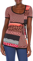 save the queen Mixed Print Drawstring Waist Top