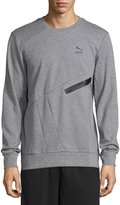 Puma Crewneck Pullover Sweater, Medium Heather Gray