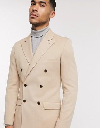 ASOS DESIGN super skinny double breasted blazer in camel oxford