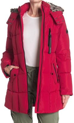 Nautica Faux Fur Trim Hooded Puffer Jacket