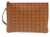 MCM 'Heritage' Convertible Coated Canvas Zip Pouch - Brown