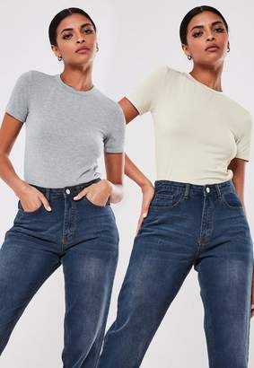 Missguided Sand And Grey 2 Pack Crew Neck T Shirts