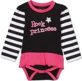 Silly Souls Rock Princess,Tutu Baby Girls Cotton Onesie Striped Black/White 3-6 Months