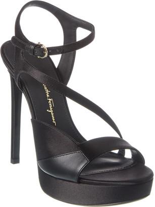 Salvatore Ferragamo Gancini Satin & Leather Sandal