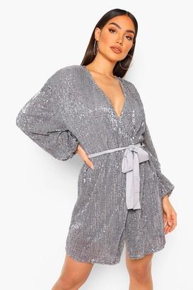 boohoo Sequin Long Sleeve Tie Waist Mini Dress